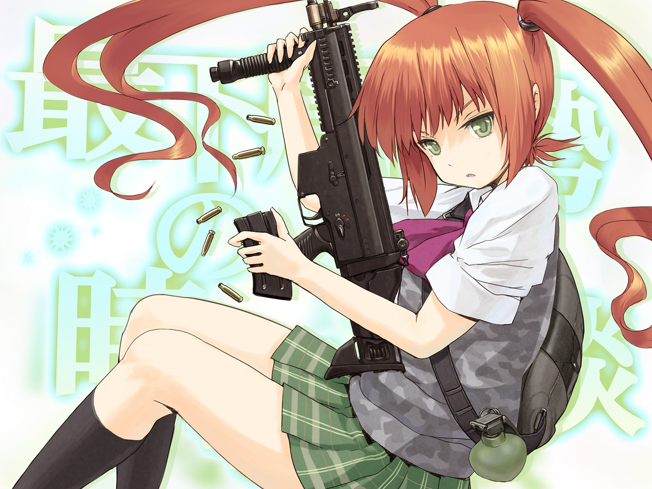brown_hair green_eyes gun long_hair nichiku original seifuku socks twintails weapon