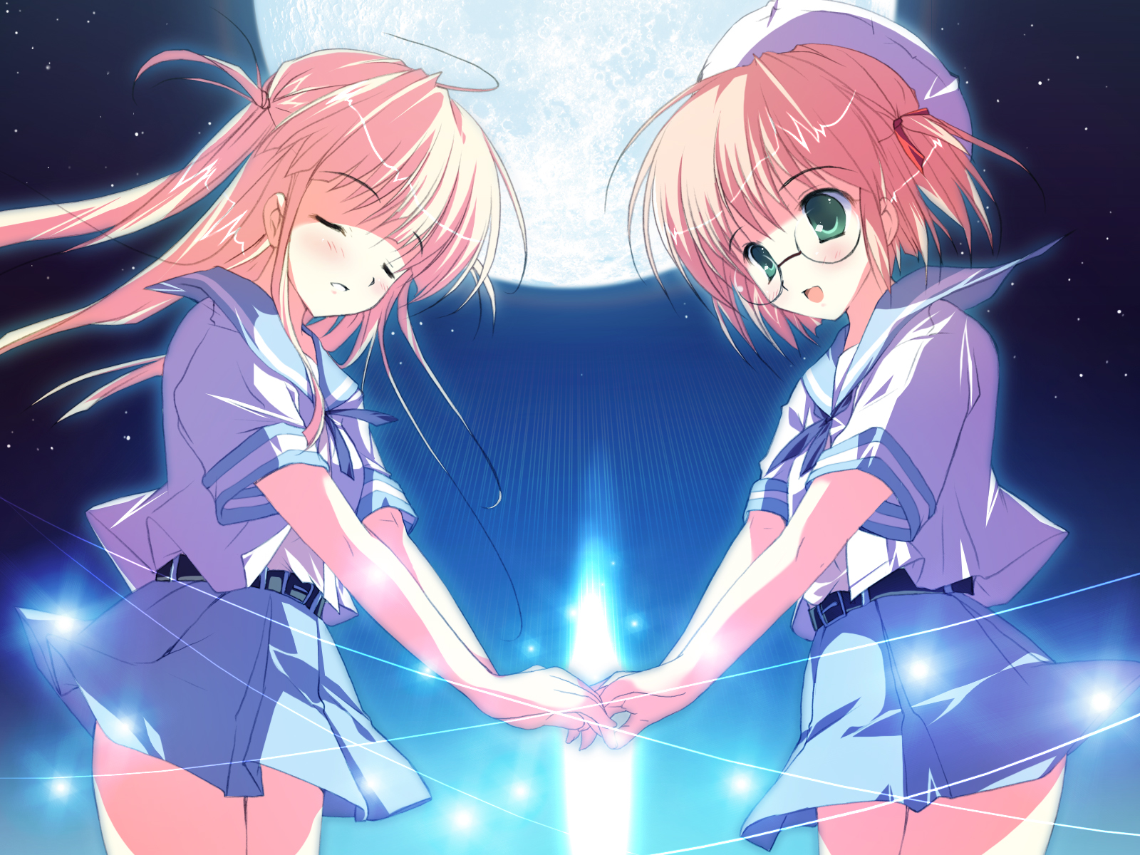 2girls glasses green_eyes hat long_hair mikeou moon night original pink_hair ribbons school_uniform short_hair shoujo_ai sky stars