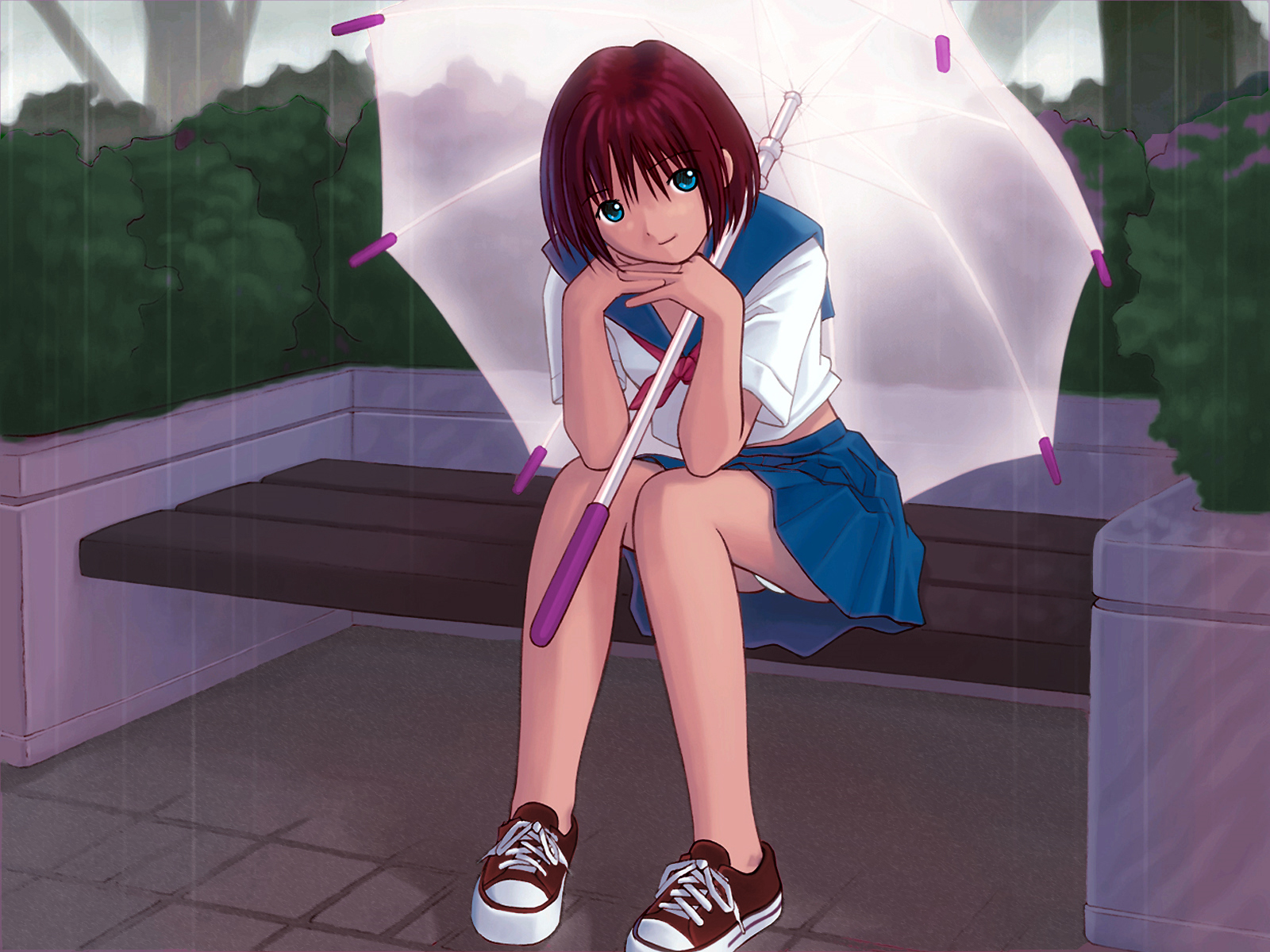 kobayashi_yuji panties rain school_uniform umbrella underwear water