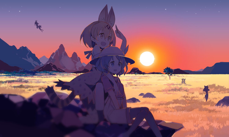 animal_ears anthropomorphism catgirl common_raccoon_(kemono_friends) crested_ibis_(kemono_friends) fennec_(kemono_friends) foxgirl haruse_hiroki hippopotamus_(kemono_friends) kaban kemono_friends serval sunset tail