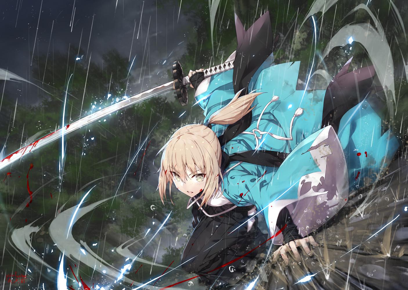 blonde_hair blood fate/grand_order fate_(series) gabiran japanese_clothes okita_souji_(fate) orange_eyes ponytail rain signed sword water weapon