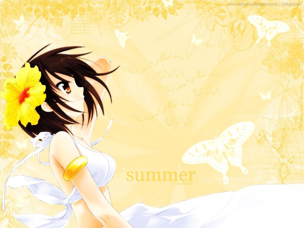 signed summer suzumiya_haruhi suzumiya_haruhi_no_yuutsu swimsuit watermark yellow