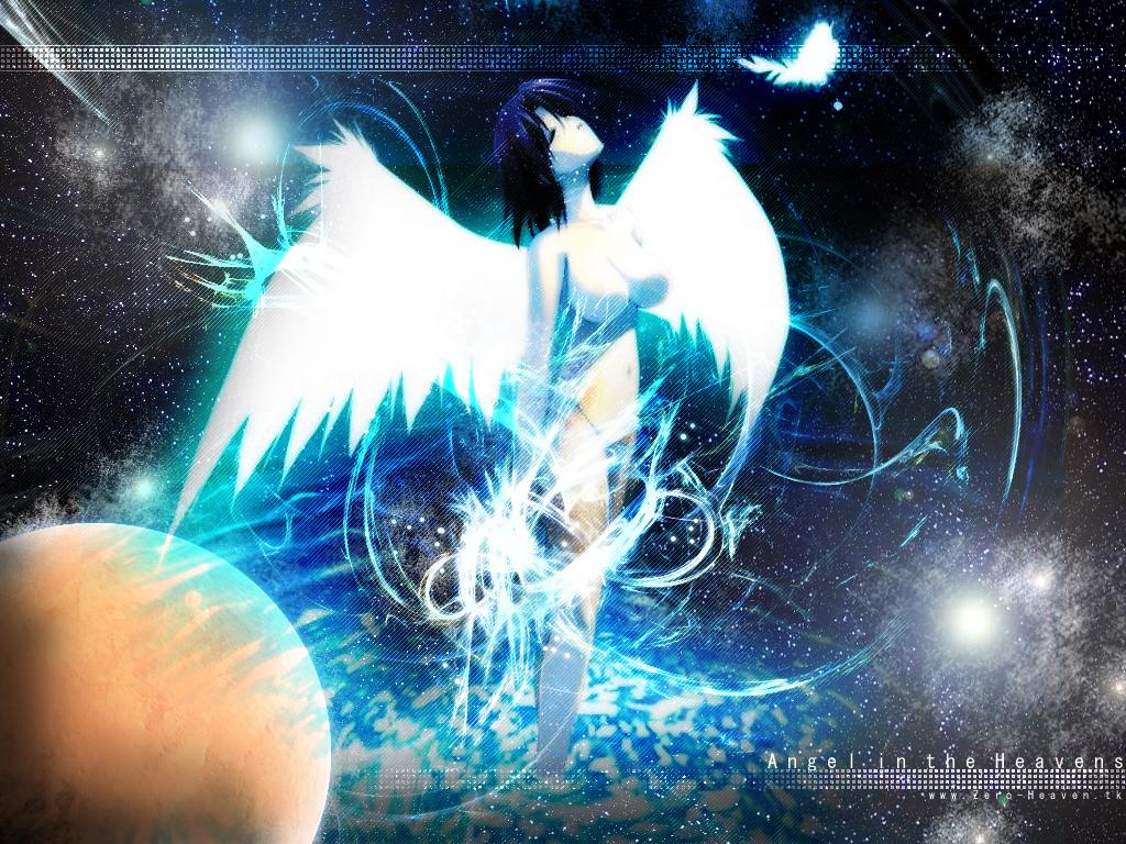 angel black_hair feathers nude short_hair space stars wings