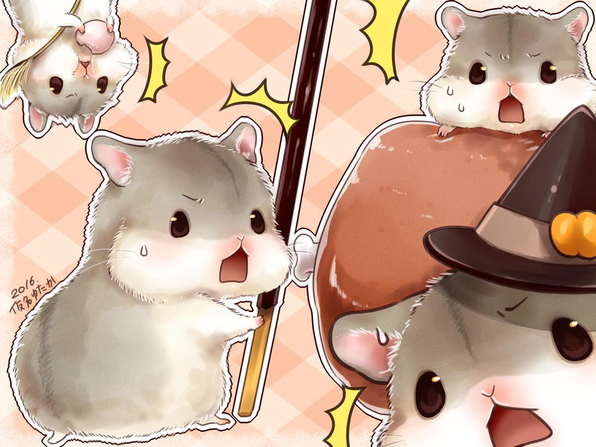 animal food halloween hat nobody original pocky signed witch_hat yutaka_kana