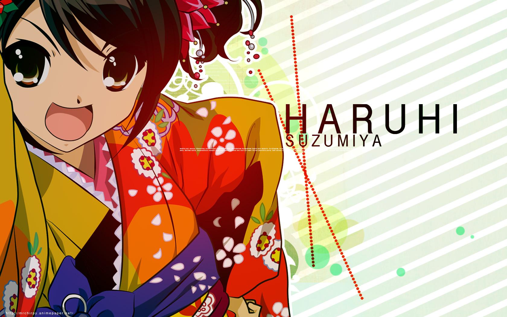 black_hair brown_eyes japanese_clothes jpeg_artifacts suzumiya_haruhi suzumiya_haruhi_no_yuutsu watermark yukata