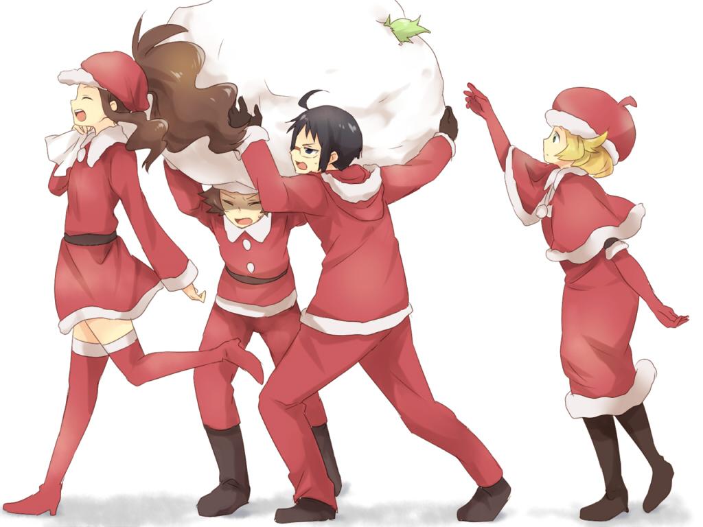 bel_(pokemon) cheren christmas group maruki_(punchiki) pokemon