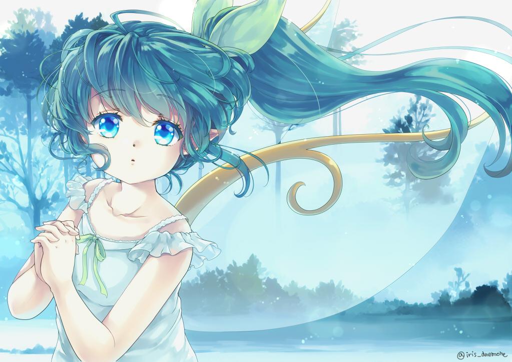 aqua_eyes daiyousei dress fairy green_hair iris_anemone loli long_hair pointed_ears ponytail signed summer_dress touhou tree water wings