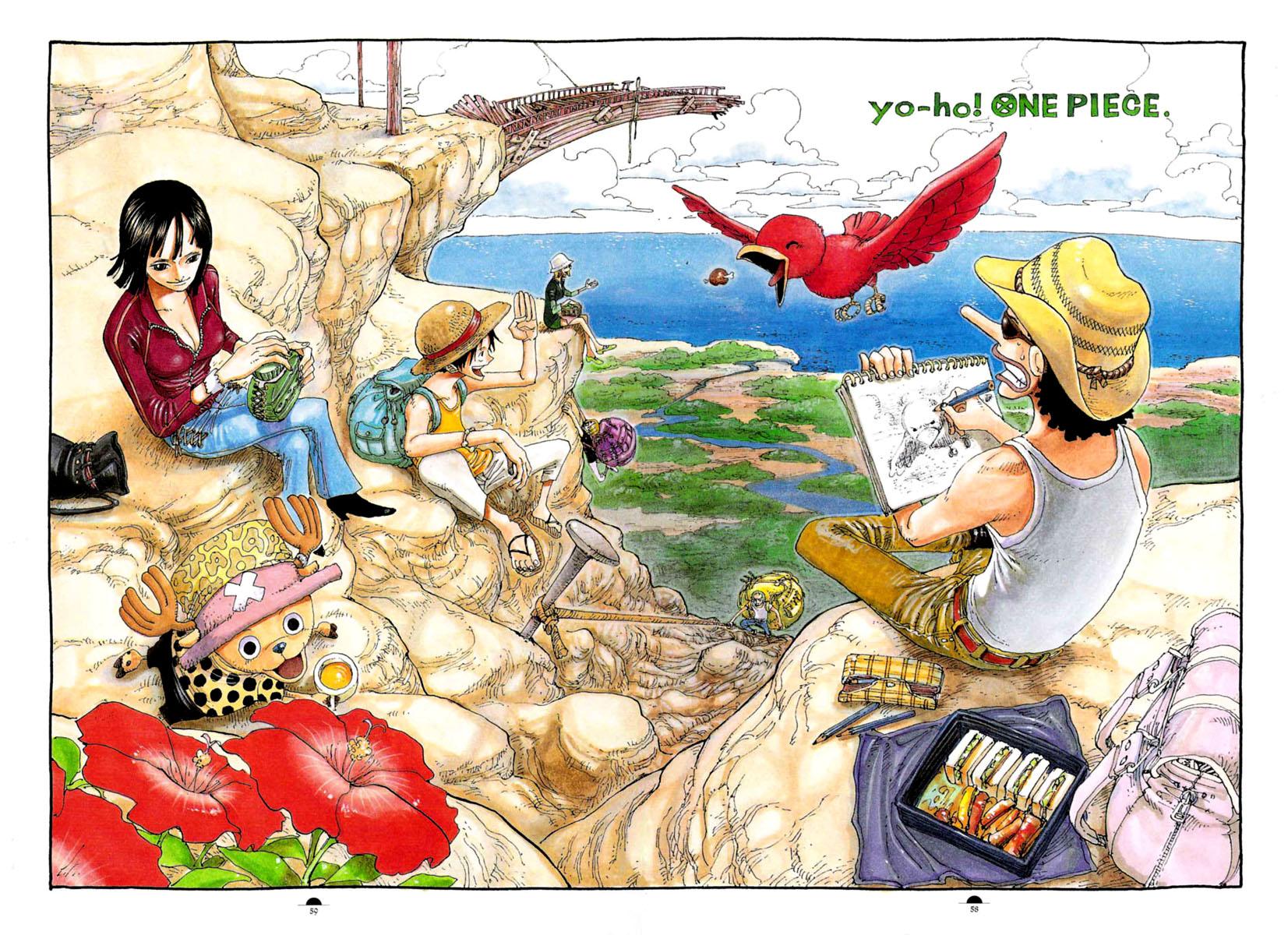 animal bird black_hair clouds drink flowers group hat jpeg_artifacts male monkey_d_luffy nami nico_robin oda_eiichirou one_piece roronoa_zoro sanji short_hair tony_tony_chopper usopp