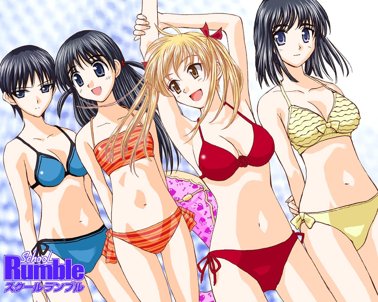 sawachika_eri school_rumble suou_mikoto swimsuit takano_akira tsukamoto_tenma