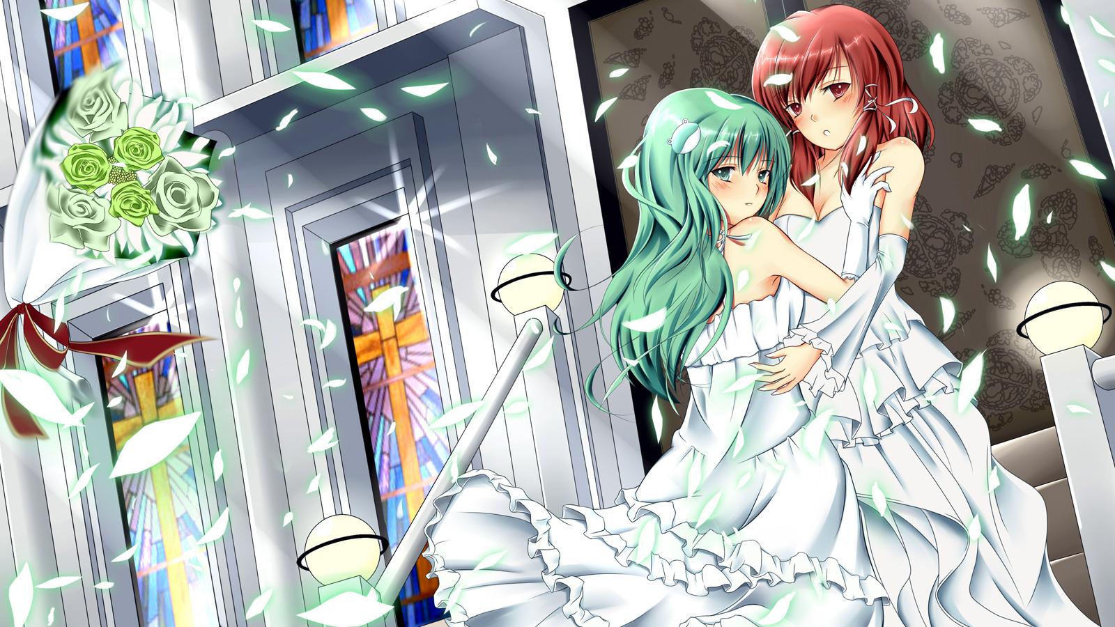 green_eyes green_hair hakurei_reimu kochiya_sanae red_eyes red_hair shoujo_ai touhou wedding wedding_attire