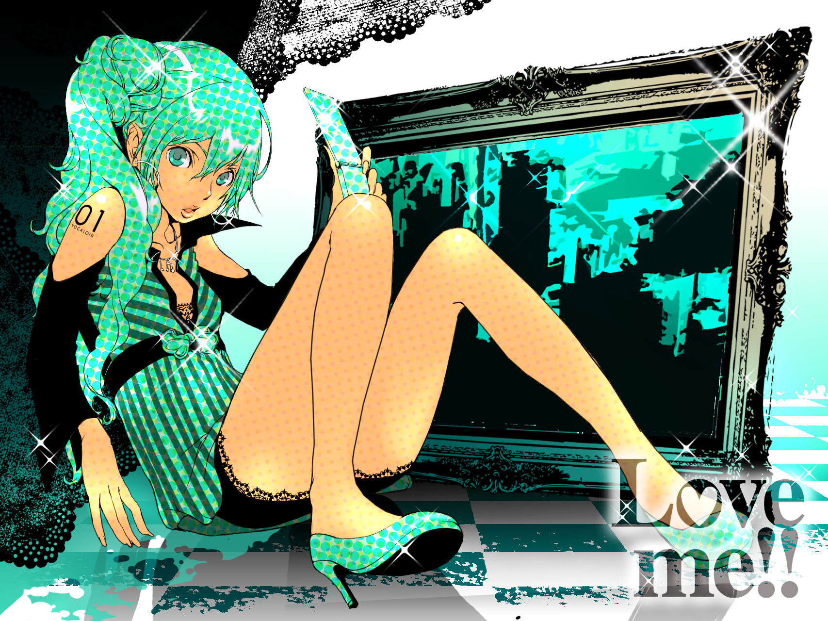 green_eyes green_hair hatsune_miku long_hair phone vocaloid