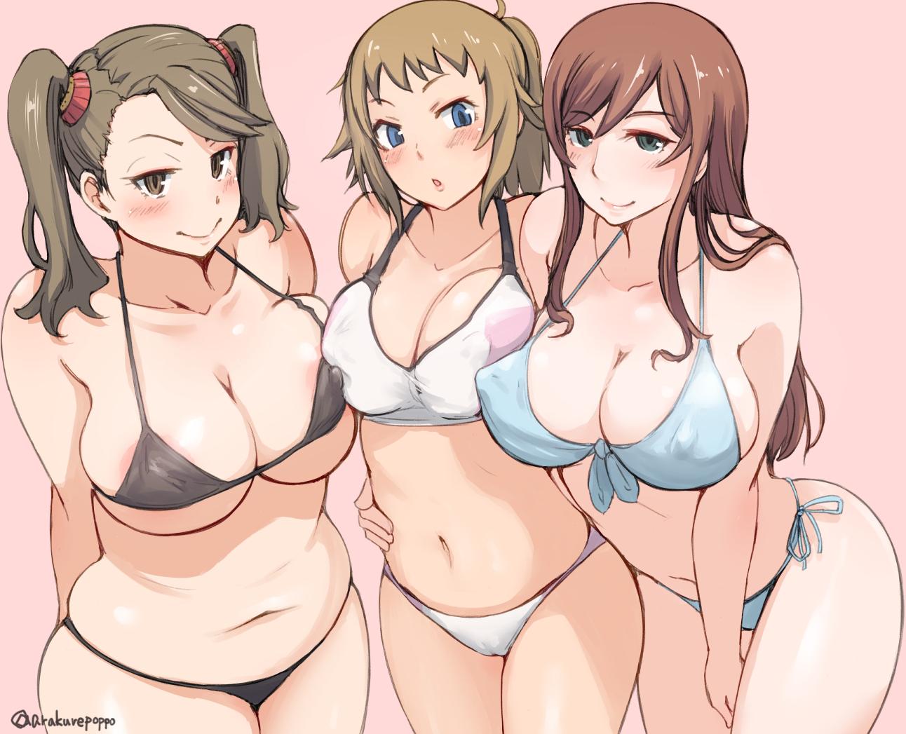 arakure bikini blush breasts cleavage erect_nipples gundam_build_fighters gundam_(series) hoshino_fumina kamiki_mirai mobile_suit_gundam navel sazaki_kaoruko signed swimsuit