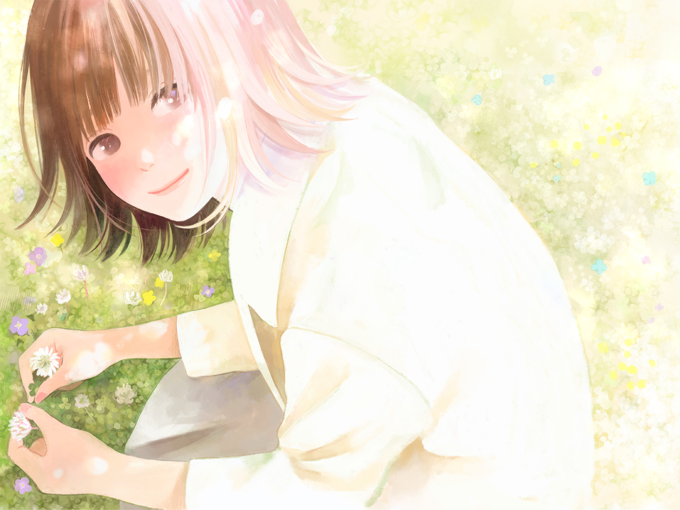 brown_eyes brown_hair flowers hinata_(lipcream) original short_hair