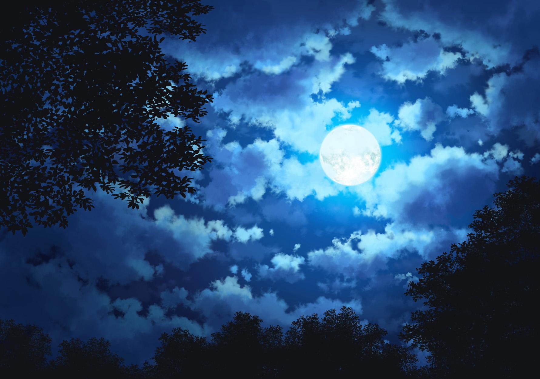 Clouds Dark Jpeg Artifacts Landscape Moon Night Original