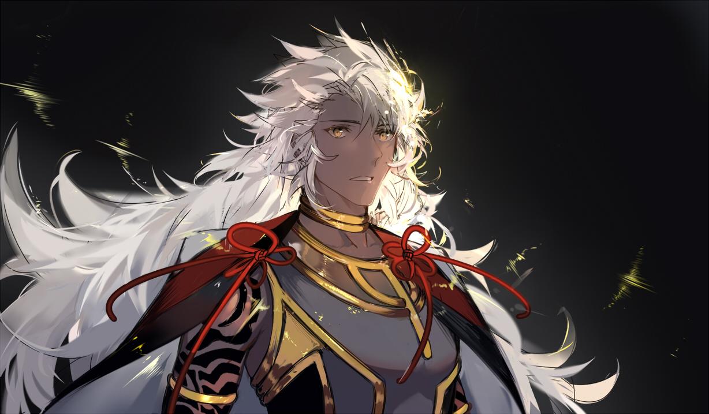 all_male arlizi cape choker close dark_skin fate/grand_order fate_(series) long_hair male solomon_(fate/grand_order) tattoo white_hair yellow_eyes