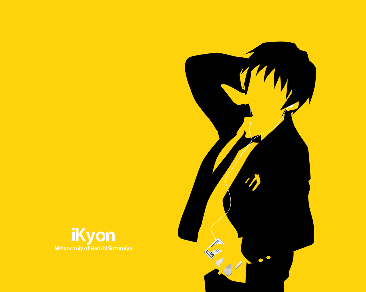 all_male ipod kyon male parody silhouette suzumiya_haruhi_no_yuutsu yellow