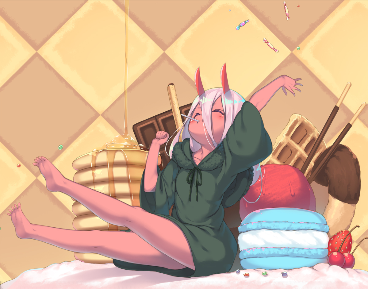 barefoot candy cherry chocolate darling_in_the_franxx demon dress food fruit hoodie horns ice_cream loli olive_(laai) pocky strawberry white_hair zero_two