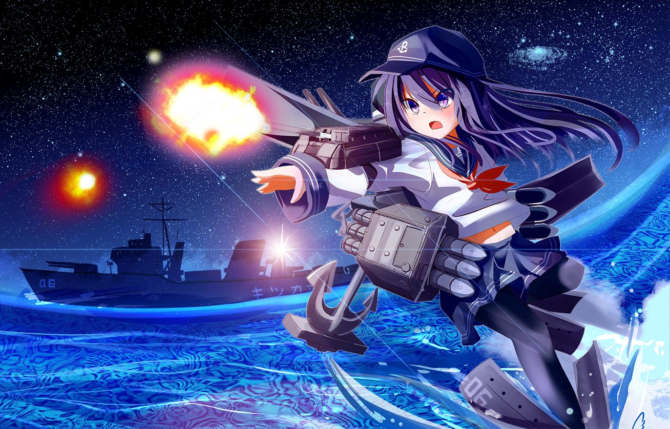 akatsuki_(kancolle) anthropomorphism hat kantai_collection kironxx stars water weapon