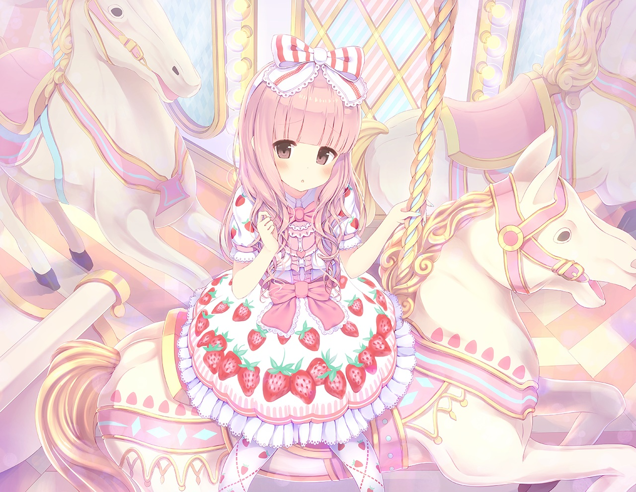 alc_(ex2_lv) bow headdress loli lolita_fashion original pink_eyes pink_hair