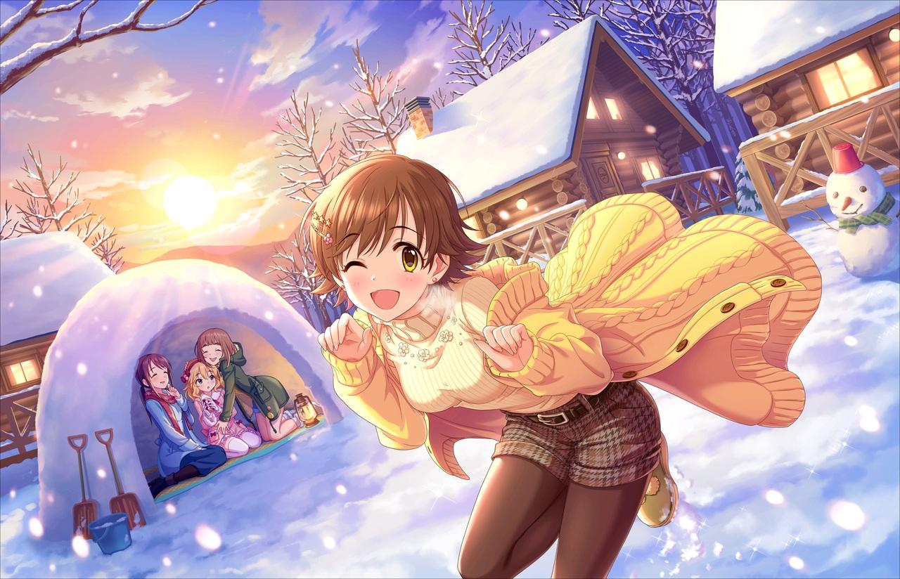 annin_doufu blonde_hair boots brown_hair building clouds fujiwara_hajime group honda_mio hoodie hug idolmaster idolmaster_cinderella_girls idolmaster_cinderella_girls_starlight_stage kitami_yuzu loli lolita_fashion long_hair pantyhose ponytail sakurai_momoka scarf short_hair shorts sky snow snowman sunset thighhighs tree wink winter yellow_eyes