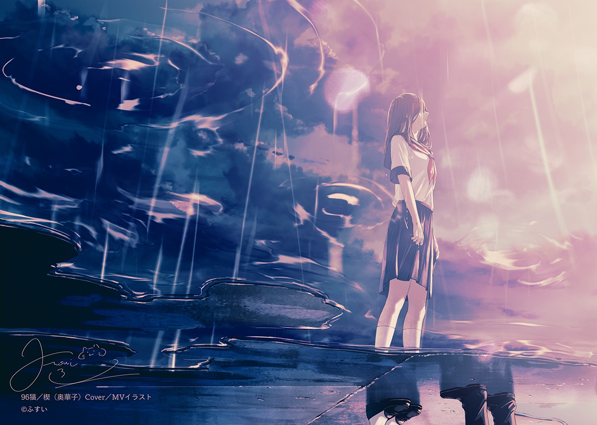brown_hair clouds crying fusui kneehighs original polychromatic reflection school_uniform signed skirt sky