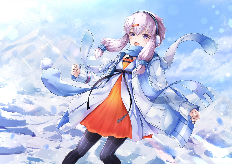 ajigo blush earmuffs long_hair purple_eyes purple_hair snow twintails vocaloid voiceroid yuzuki_yukari
