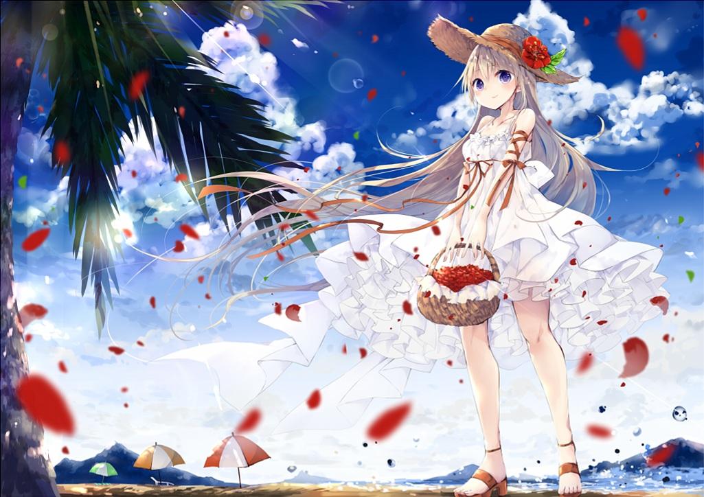 beach blonde_hair clouds dress hat long_hair original petals purple_eyes sky summer summer_dress tree umbrella umi_no_mizu