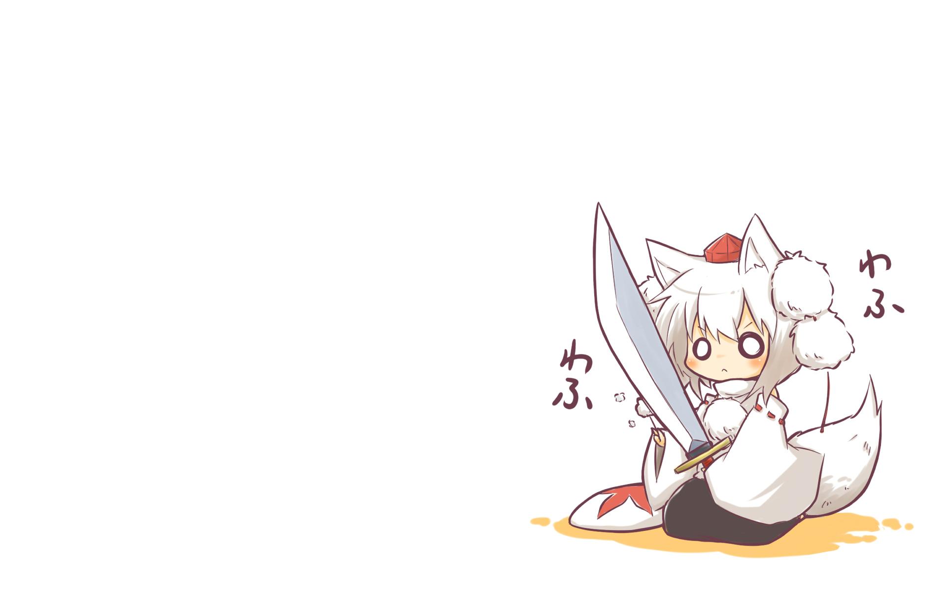 animal_ears chibi hat inubashiri_momiji sword tail touhou viva!! weapon wolfgirl