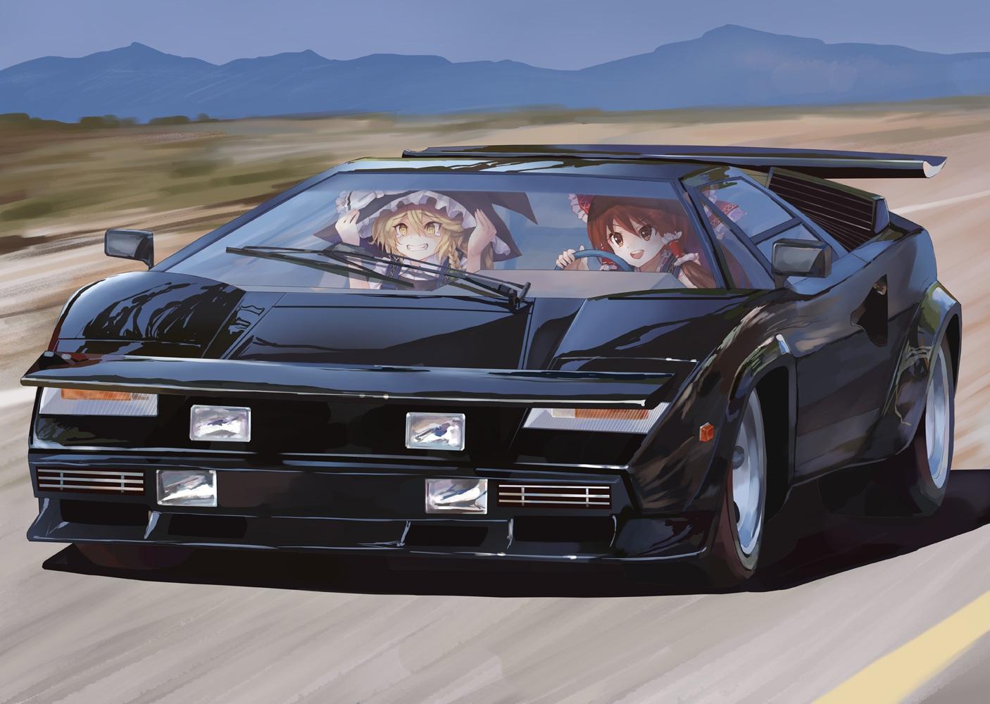2girls car hakurei_reimu kirisame_marisa parody takepon1123 the_cannonball_run touhou