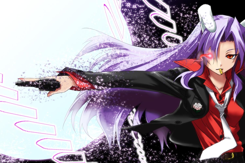bunnygirl gun kyougoku_touya long_hair purple_hair red_eyes reisen_udongein_inaba suit tie touhou weapon