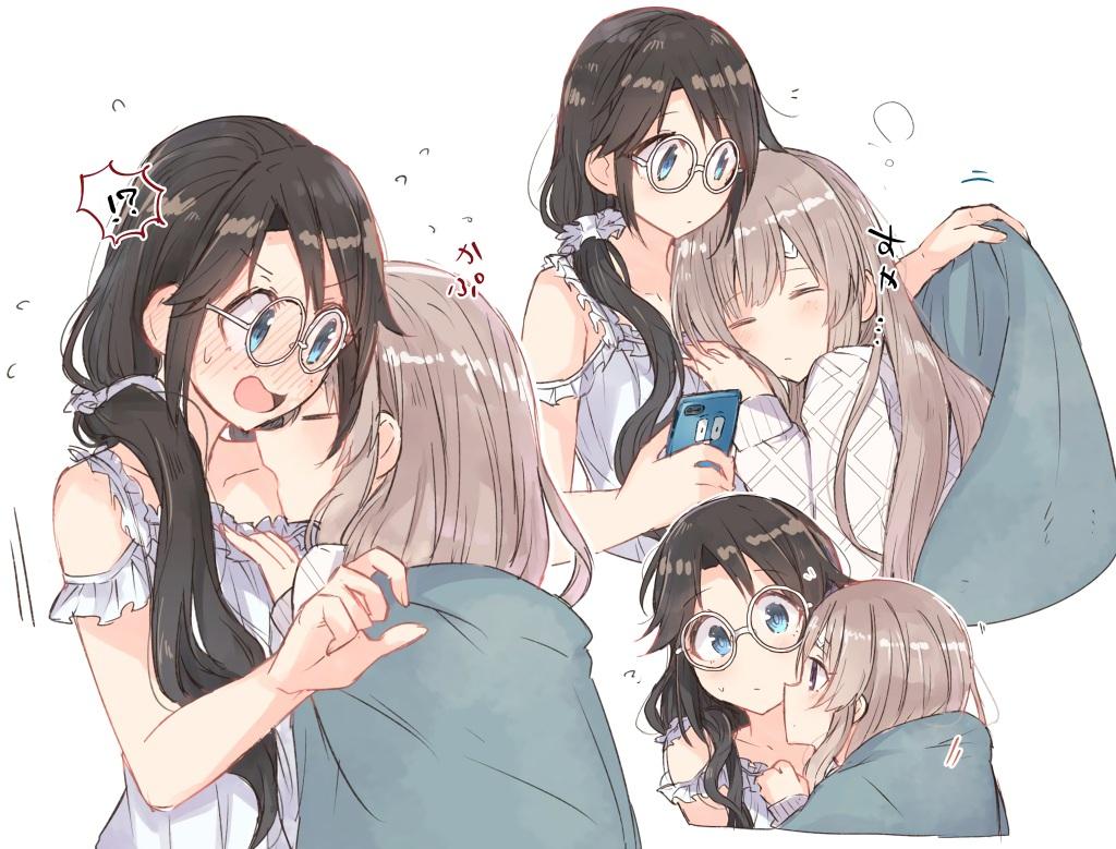2girls black_hair blue_eyes blush brown_hair glasses hanetsuka idolmaster idolmaster_shiny_colors long_hair mitsumine_yuika phone ponytail shoujo_ai yuukoku_kiriko