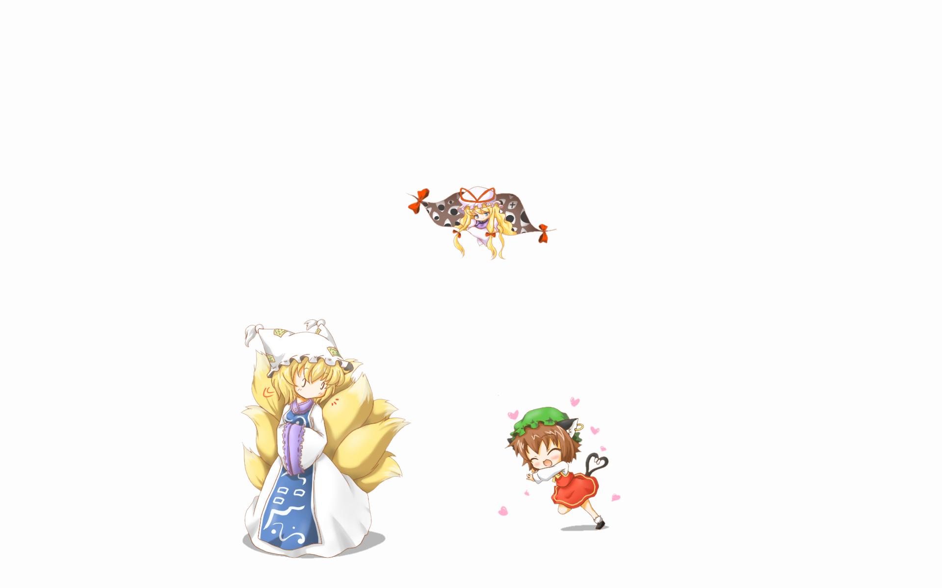 animal_ears catgirl chen chibi foxgirl multiple_tails neko_yume tail touhou white yakumo_ran yakumo_yukari