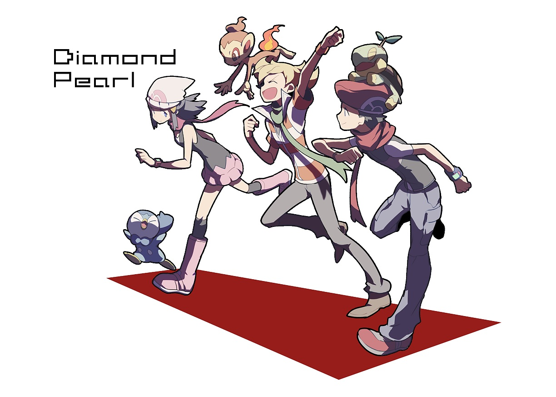 chimchar domu_(hamadura) hikari_(pokemon) jun_(pokemon) kouki_(pokemon) male piplup pokemon turtwig