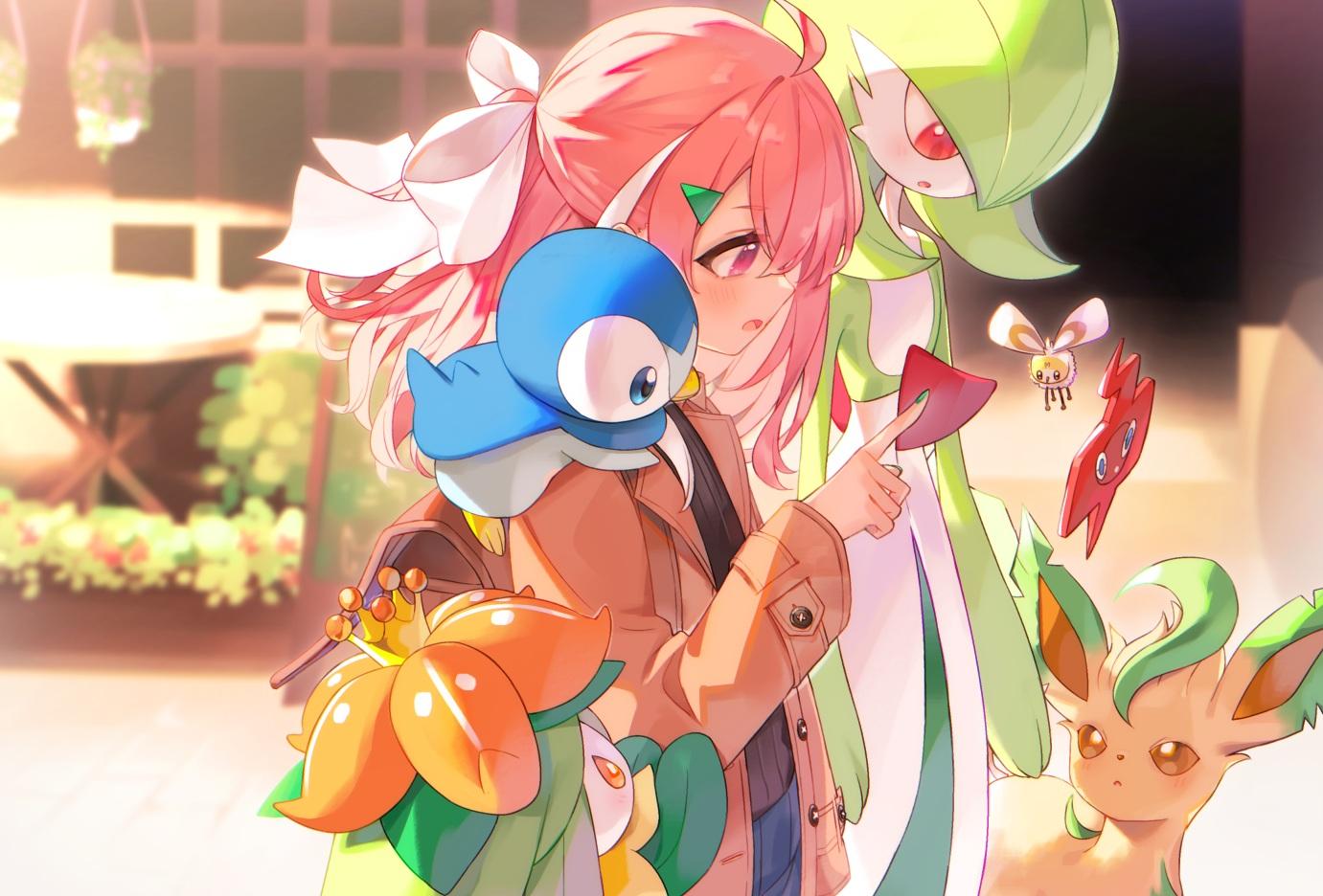 blush bow building crossover cutiefly gardevoir kanase_(mcbrwn18) leafeon lilligant nijisanji phone pink_eyes pink_hair piplup pokemon rotom sasaki_saku