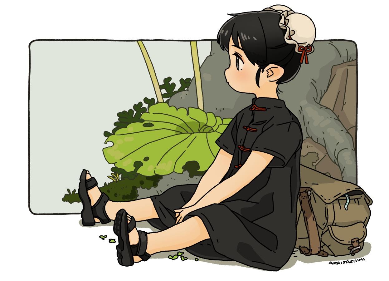 akai_sashimi black_eyes black_hair chinese_clothes leaves loli original short_hair signed tree