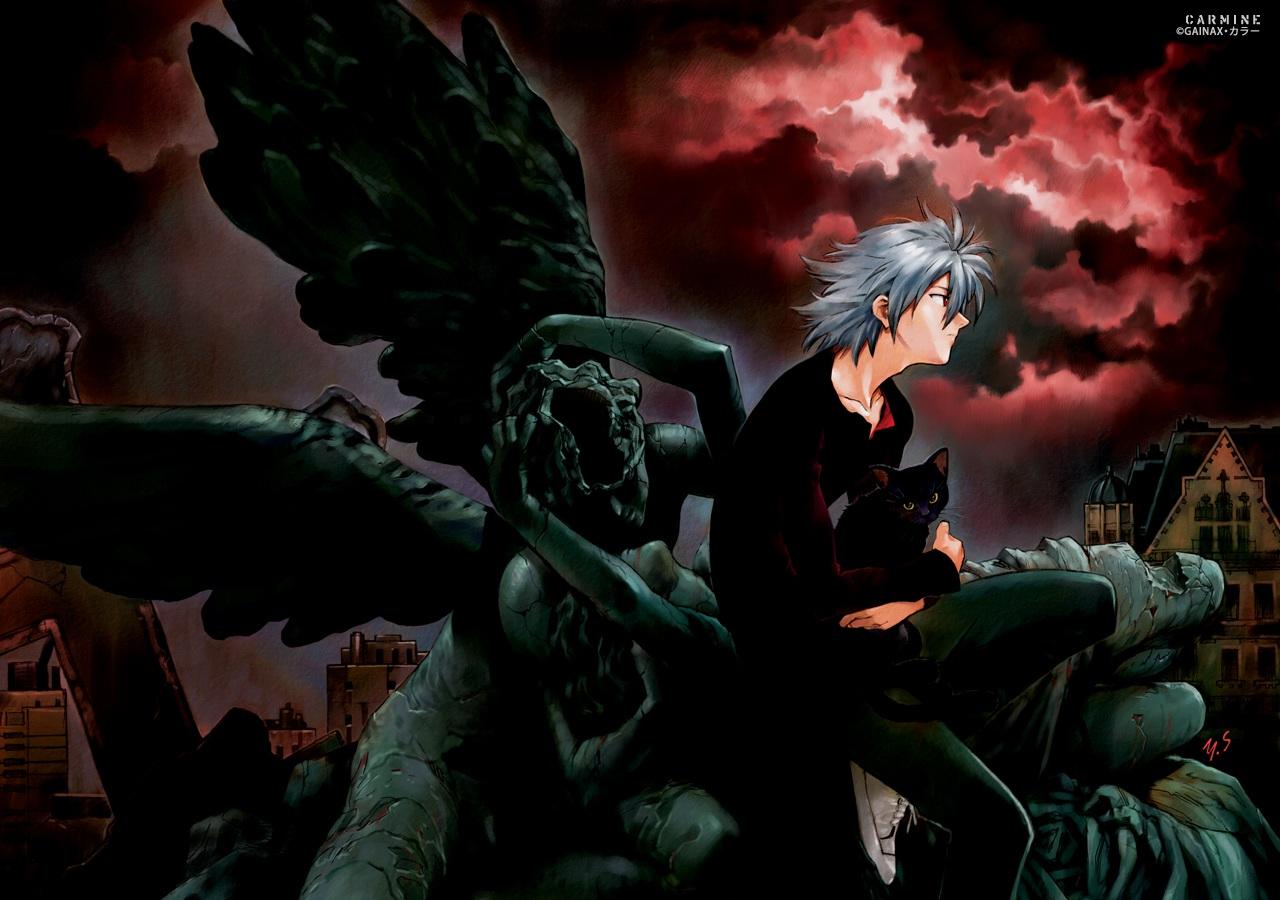 all_male building city clouds gainax gray_hair male nagisa_kaworu neon_genesis_evangelion ruins sadamoto_yoshiyuki short_hair signed sky watermark