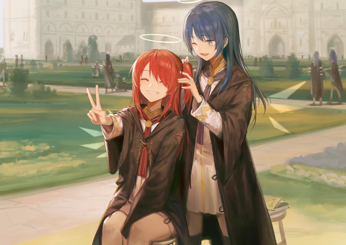 aqua_eyes arknights blue_hair exusiai_(arknights) halo hoodie huanxiang_heitu long_hair mostima_(arknights) ponytail red_hair school_uniform wings
