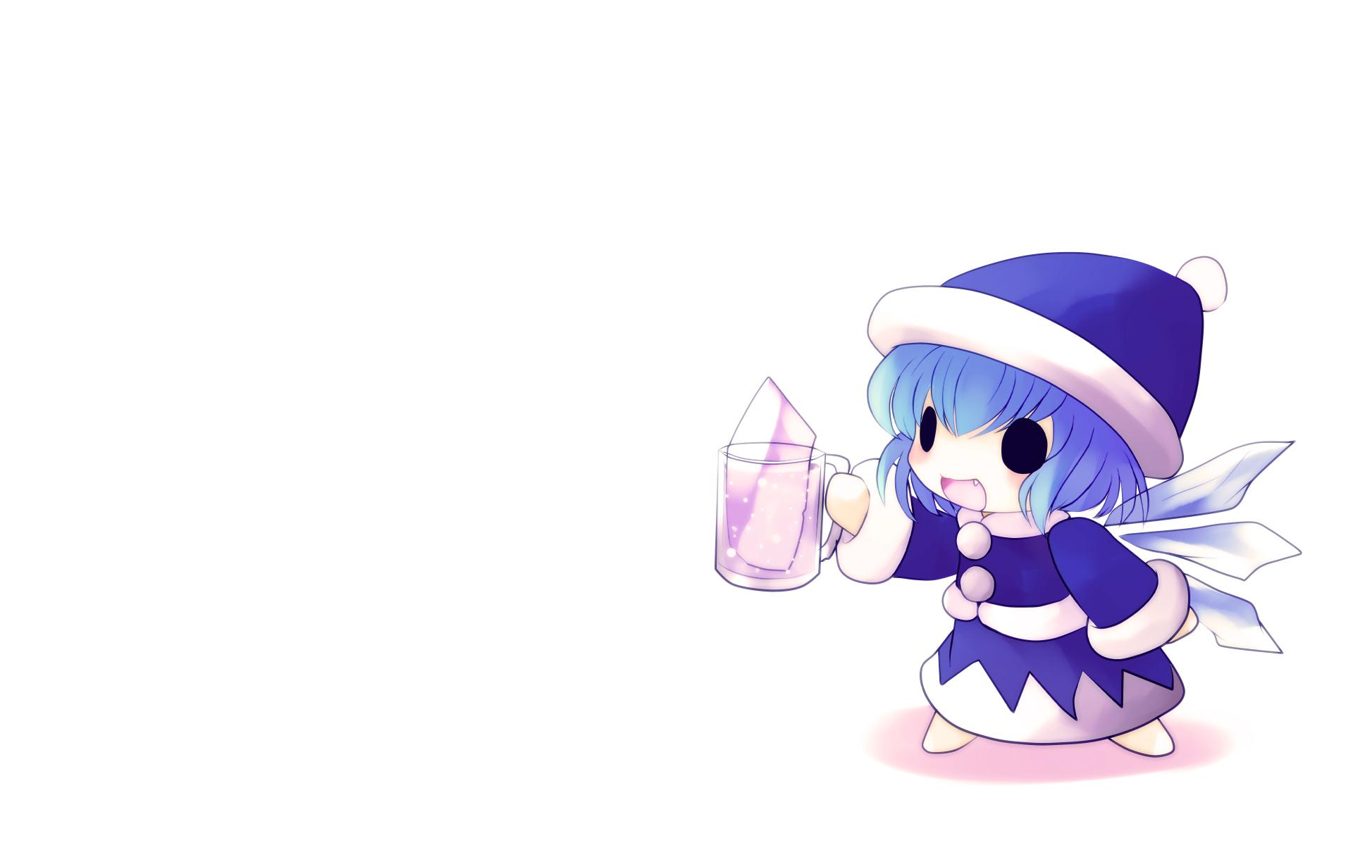 blue_hair chibi cirno drink fairy fang hat touhou white wings yume_shokunin