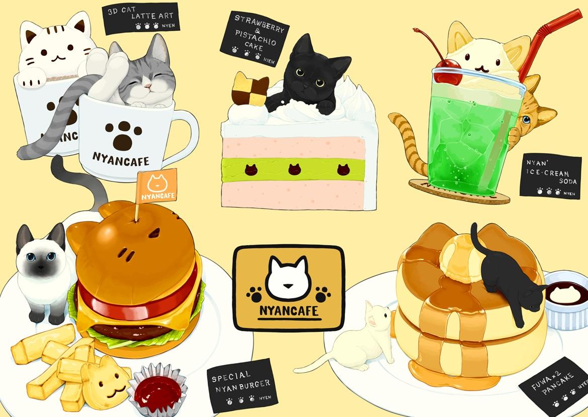 animal cake cat cherry drink food fruit ice_cream lilac_(pfeasy) nobody original