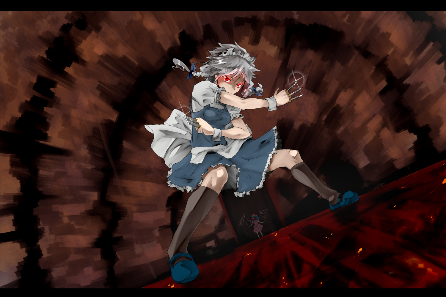 braids gray_hair hat izayoi_sakuya knife maid red_eyes remilia_scarlet short_hair touhou vampire wings yokohachi