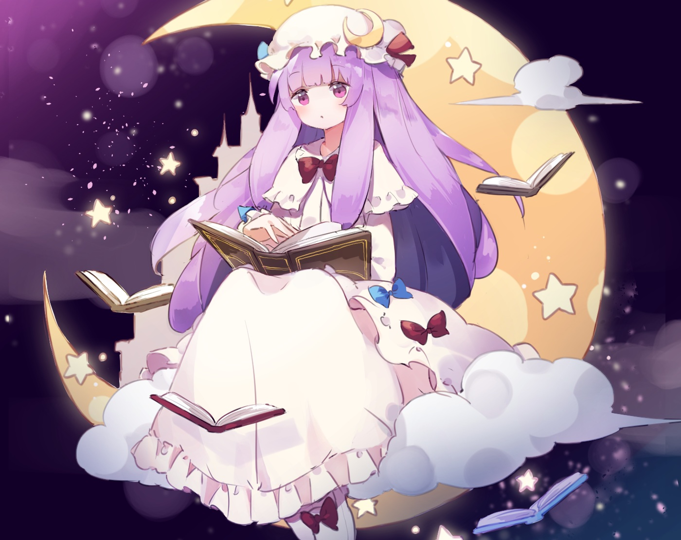 book bow clouds cropped dress fujii_shino hat long_hair mage moon patchouli_knowledge purple_eyes purple_hair sky stars touhou