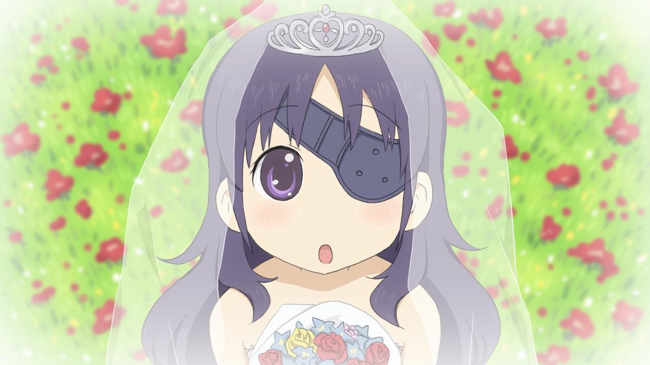 eyepatch flowers mirai_nikki nichijou parody purple_eyes purple_hair uryuu_minene