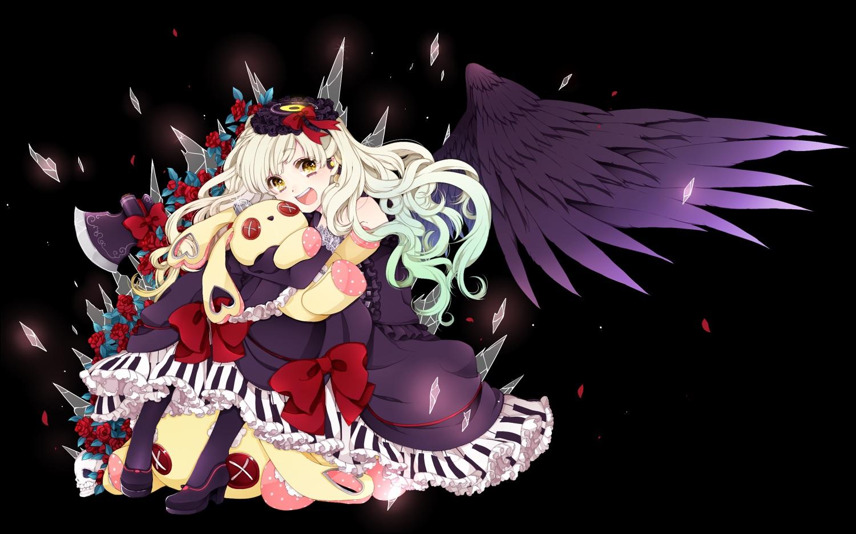 black bow bunny dress feathers flowers gothic headdress lolita_fashion long_hair makarodon_(macaroni) mayu_(vocaloid) rose vocaloid weapon white_hair wings yellow_eyes