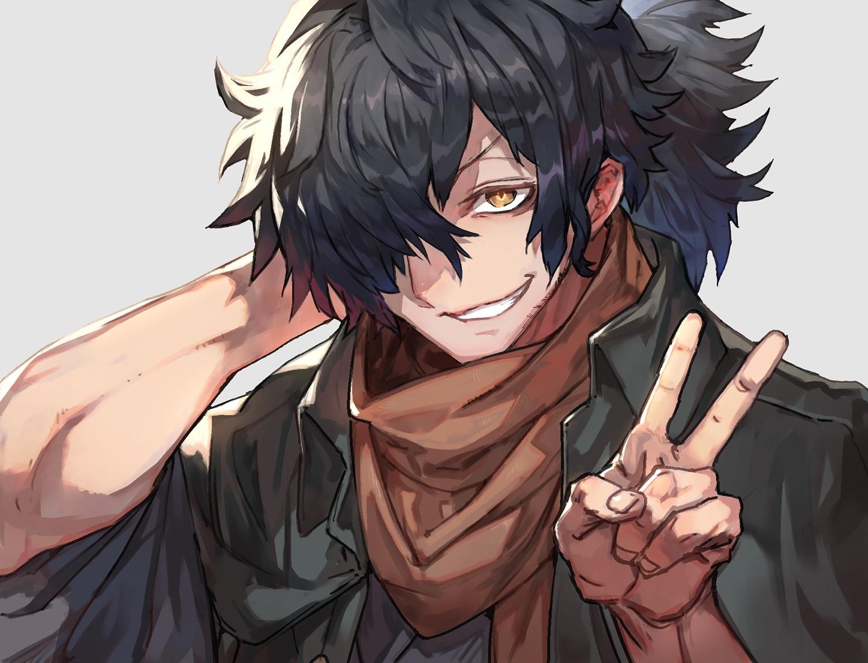 all_male black_hair brown_eyes close fate/grand_order fate_(series) lack male okada_izou_(fate) ponytail scarf