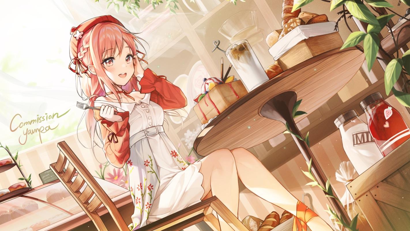alpha_(ypalpha79) blush braids dress drink food garter hat long_hair original pink_eyes pink_hair signed twintails