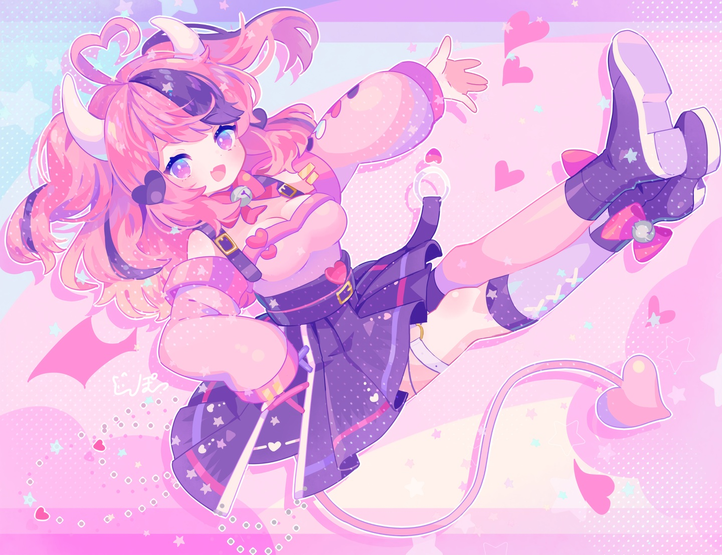 bell boots bow breasts cleavage fang garter heart horns ironmouse komusun loli pink pink_eyes pink_hair polychromatic short_hair signed skirt tail twintails vshojo waifu2x