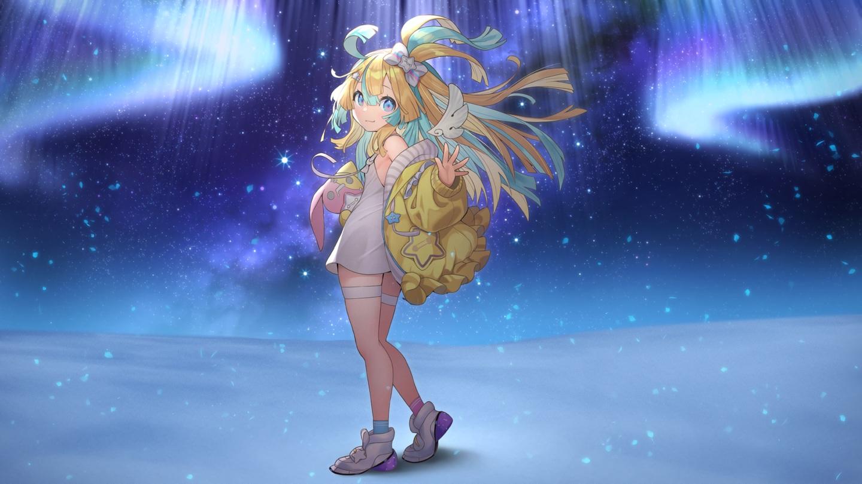 amakawa_hano aqua_eyes bettle_(b_s_a_n) blonde_hair bow bunny dress flat_chest garter long_hair night re:act sky socks stars summer_dress waifu2x wings