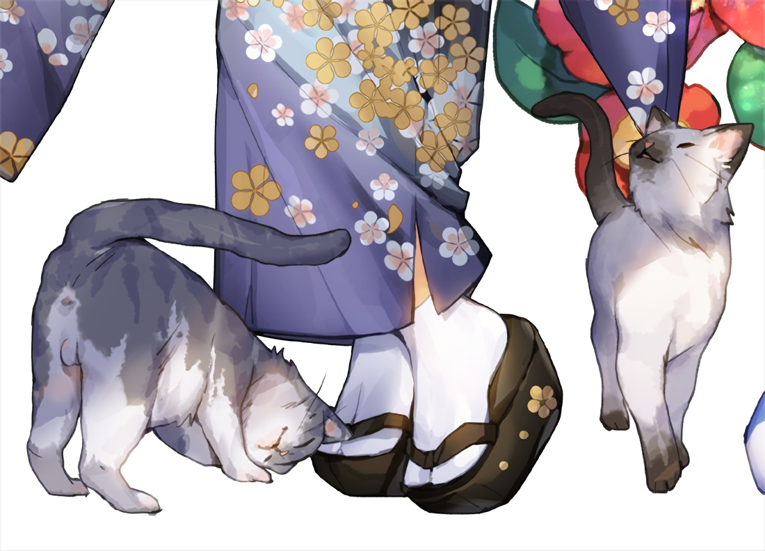 animal cat japanese_clothes original waifu2x white whoisshe