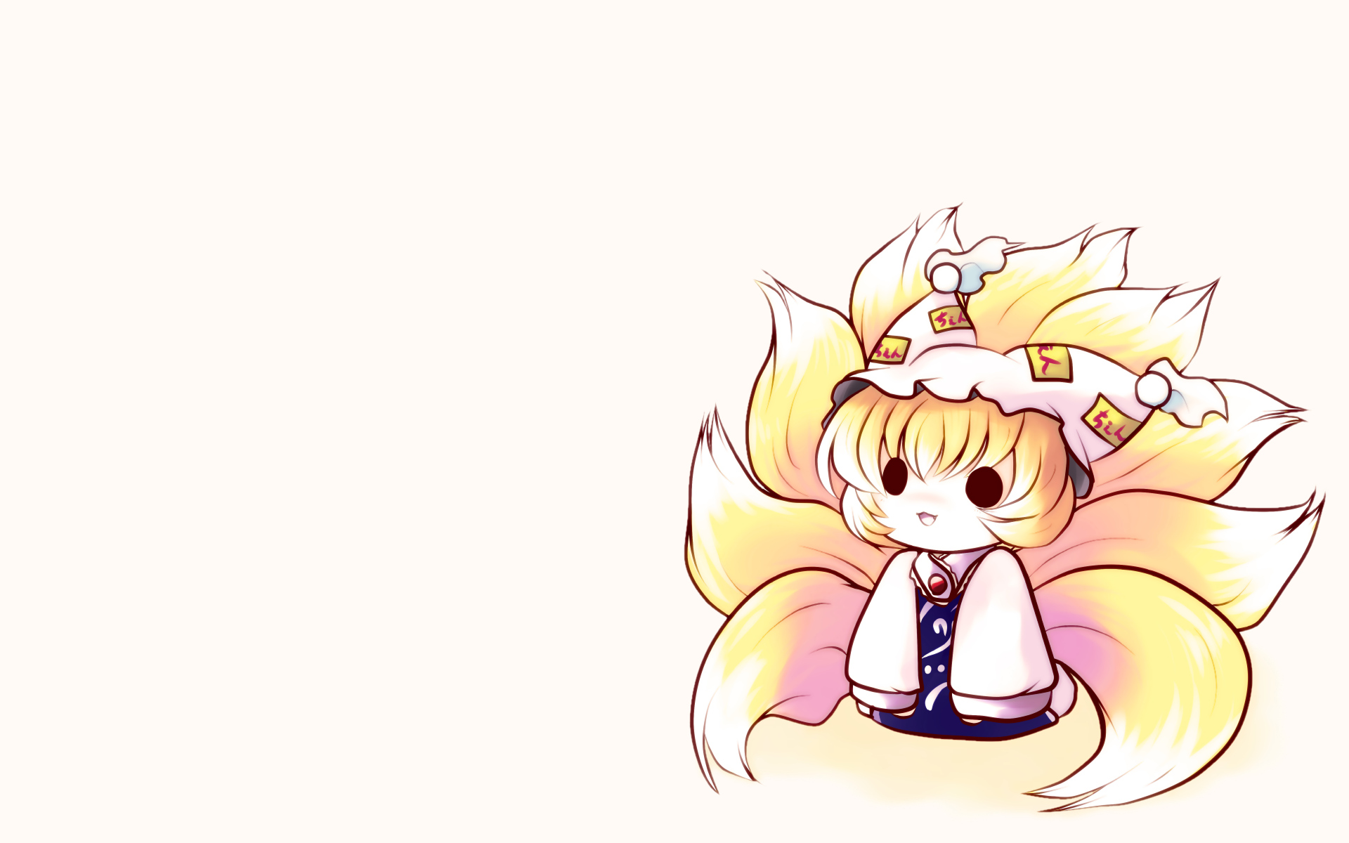 animal_ears cat_smile chibi fang foxgirl hat multiple_tails tail touhou white yakumo_ran yume_shokunin