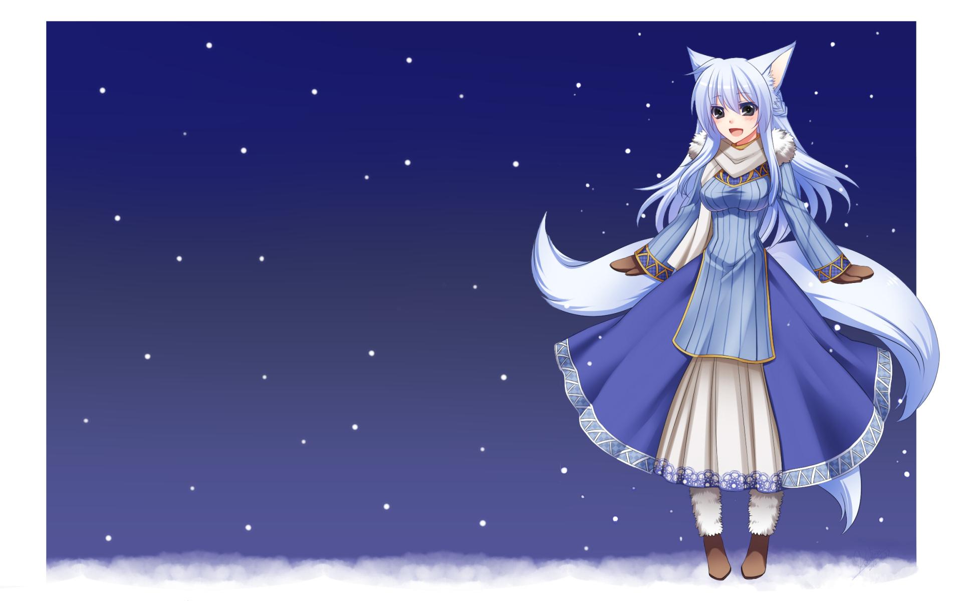 animal_ears blush foxgirl gloves konshin multiple_tails original snow tail